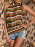 MULTICOLOR FREE CUT STRIPPED TOP JANETTE