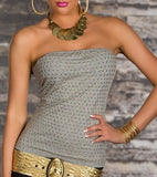 STONES SPARKLE GREY COTTON CORSET TOP