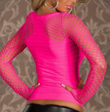 SEXY NEON PINK LONG SLEVE TOP LEA