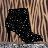 RHINGSTONED ANKLE BLACK  MOON BOOTS