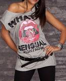 WOMAN T SHIRT KISS GREY