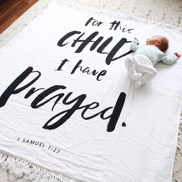 "Muslin Swaddle Blanket - ""For This Child I Have Prayed"""
