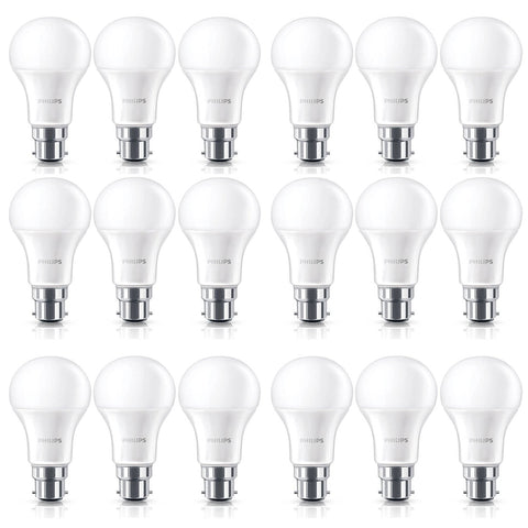 18 Pack Philips 9W B22 Bayonet Warm White Light Frosted A60 LED Globe Bulbs