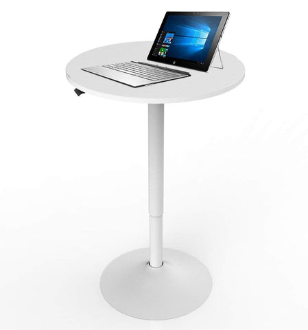 Allcam ACWST50A Gas Spring Office/Meeting Round Table/Standing Desk White, Height Adjustable 70-106 cm