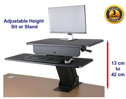 Allcam GSS03BAS Sit-Stand Workstation for Lower Back Pain Relief due to Prolonged Sitting Hours w/ desk clamp