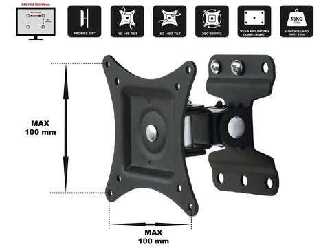 "LCD201 17"" 19"" 22"" 24"" 26"" LED/LCD TV Wall Bracket 30° Tilt , 180° Swivel, 360° Free Rotate VESA 100 75 Holds up to 15 kgs weight"