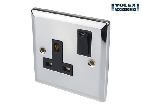 Volex 13A Single Switched Socket Double Pole w/ Shiny Chrome Metal Plate