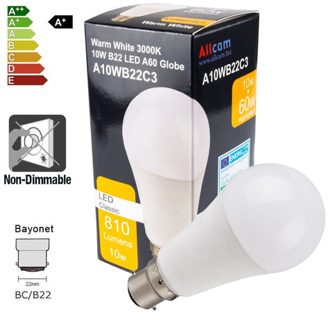 Allcam 10W LED Bulb Bayonet B22 810 lm (~60-70W Incandescent Light) A60 Globe