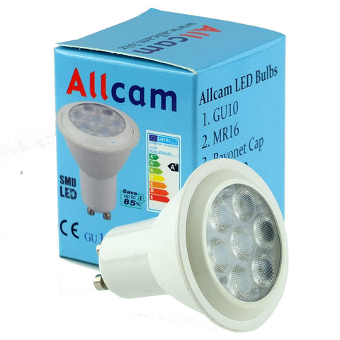 Allcam 7W LED GU10 Light Bulbs 550 lm ~60W Halogen (pack size & bean colour Options)