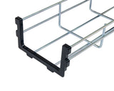 Under Desk Cable Tray Basket Galvanized Steel Mesh w/ Mounting Bracket, Cover & End cap