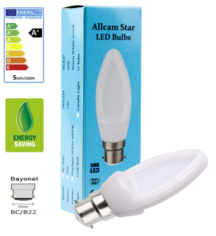 Allcam 4W Dimmable LED Candle Light Bulb Bayonet B22 350lm ~40W Incandescent (pack size Options)