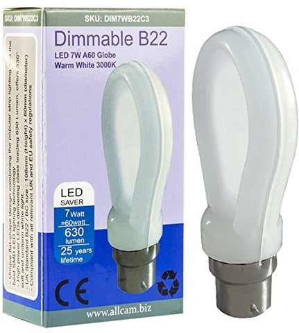 Allcam Dimmable 7W Bayonet B22 Warm White LED Bulb 630lm 60W Incandes