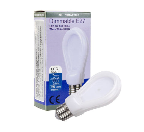 Allcam Dimmable 7W Edison Screw ES/E27 LED Bulb 630lm ~60W Incandescent Globe Lights (pack size Options)
