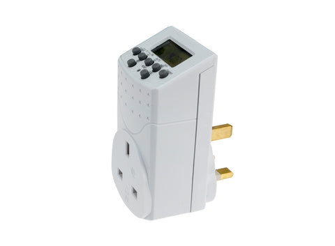 Wickes Electronic Digital / Mechanical Mains Timer Socket Plug-in with LCD Display (12/24 Hour /7 Days Programable, 240V )