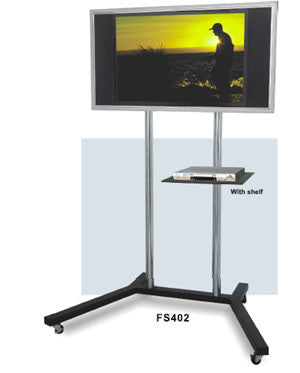 FS402 Mobile TV Floor Stand w/ Shelf for Laptop / DVD Blu-ray Players