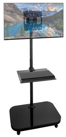 "FS940 Mobile Floor Stand w/ Mounting Bracket for 19"" 22"" 23"" 27"" 32"" LCD/LED TV's and Monitors With Glass Shelf"