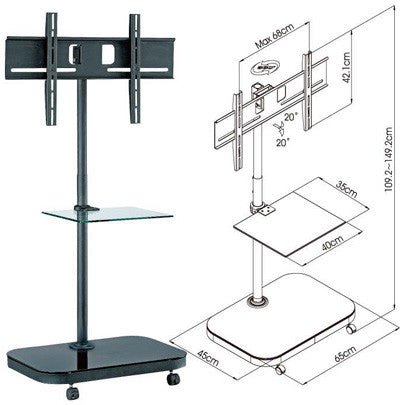 FS941 Mobile TV Stand w/ Mounting Bracket for LCD/Plasma TV & Glass Shelf
