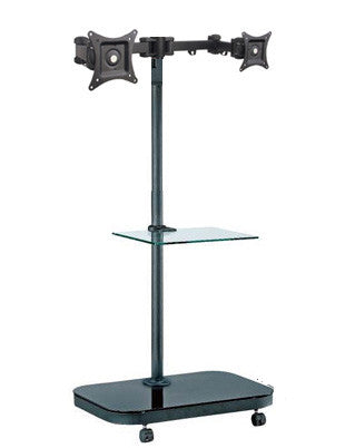 FS948MDM2 Mobile Floor Stand for 2 LCD Monitors/ TVs w/ Glass Shelf