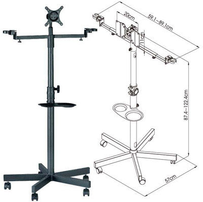 FS960 Mobile Floor Stand w/ Brackets for LCD TV, Microphone, and Drink Cups