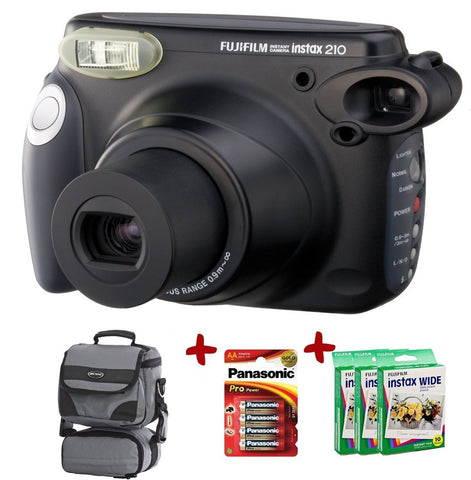 Fuji Instax 210 Instant Camera w/ Wide Film, Case, Extra Panasonic Gold Batteries
