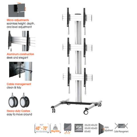 "2.15m - Tall Exhibition Display Stand TV Trolley Floor Stand Video Wall w/ Mounting Brackets for Three 45-55"" LCD LED TVs , 6° Tilt Up/Down & Micro-adjustments"