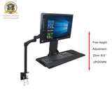 "GSA12 Gas Spring Sit Stand Work Station w/ Adjustable Keyboard Tray & LCD Monitor Bracket for 15""-27"" Screens : Tilt up/down 180°, free swivel left/right 360°, 360° rotation ( Lower Back Pain Relief due to Prolonged Sitting Hours )"