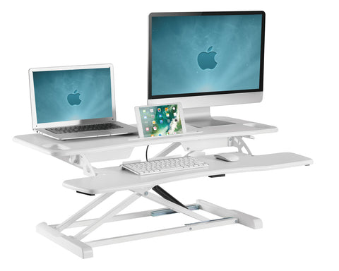 Allcam GSS061 Gas Spring Sit-Stand Workstation Height Adjustable w/ Keyboard Tray & Phone/Tablet Stand