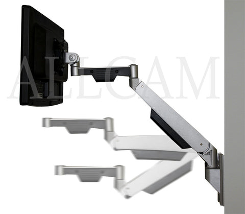 GSW130 Gas Spring Wall Mount LCD/LED Monitor Stand w/ vesa bracket: free up/down & left/right motion with extra horizontal arm