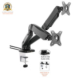 Allcam Gas Spring Desk Mount LCD Monitor Single / Double Twin Arms Stand w/ Built-in USB & Audio ports, Tilt 135°, swivel 360°