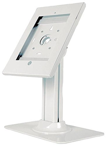 "Allcam Ipad Pro 12.9"" Kiosk Exhibition Stand Lockable Display Mount White w/ Desk Standing Weighted Base, Tilt 0 -75°, Cable Management & Security Lock"