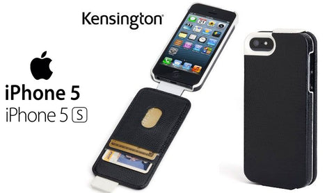 Kensington Portafolio Flip Carry Case  with Wallet for iPhone 5S/ 5C/ 5 Black Snakeskin