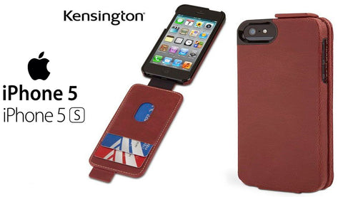 Kensington Portafolio Flip Carry Case with Wallet for iPhone 5S/ 5C/ 5 Brown ( Maroon Marble)