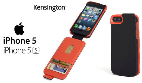 Kensington Portafolio Flip Carry Case with Wallet for iPhone 5S/ 5C/ 5 Black & Orange