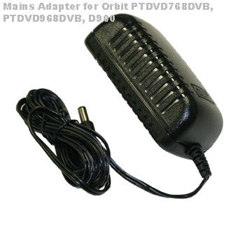 Orbit Mains Adapter PTDVD768DVB, PTDVD968DVB, D900, D909 Portable DVD/TV