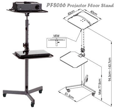 PFS066 Projector Trolley Floor Stand w/ Removable Tray for Laptop/ DVD Player