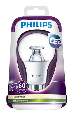 Philips 9W B22 LED Bulb Bayonet Globe 806lm ~60W Incandescent CLEAR (pack size Options)
