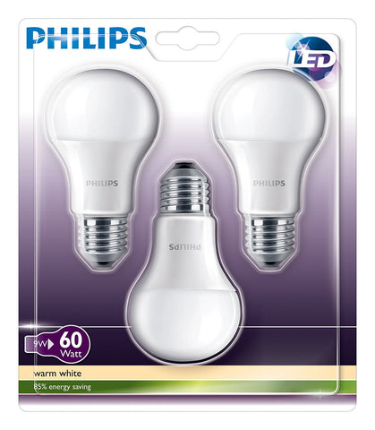 3-pack Philips 9W E27 Edison Screw Warm White Light Frosted A60 LED Globe Bulbs (pack-size options available)