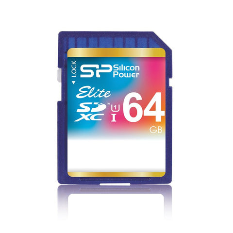 <b> Silicon Power Elite 64GB SDXC Class 10 UHS-1 Memory Card </b