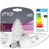 TCP 5W Warm White LED Candle Light Bulb SES / E14 330lm - 30W halogen replacement (pack size Options)