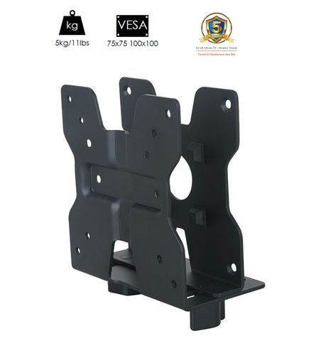Allcam Thin Client Mount / Mini CPU Holder w/ Pole clamp, Vesa Mount & Underdesk Fixings (Universal Mount for NUC Units up to 5Kgs and VESA 75, Vesa 100)