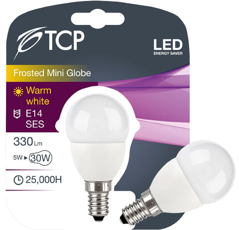 TCP 5W Warm White LED Bulb E14 Mini Globe / Golf Ball 330lm - 30W halogen replacement