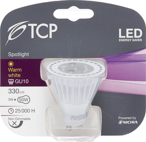 TCP 5W GU10 LED Bulb Warm White 330lm ~40W Halogen (pack size Options)