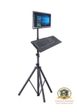 "Allcam TR940 Tripod Portable Floor Stand + Keyboard tray attachement & LCD Monitor Desk Mount Bracket for 15""-27"" Screens, Tilt up / down 15°, Freely Swivel left/right: 360°, Freely Rotate: 360°"