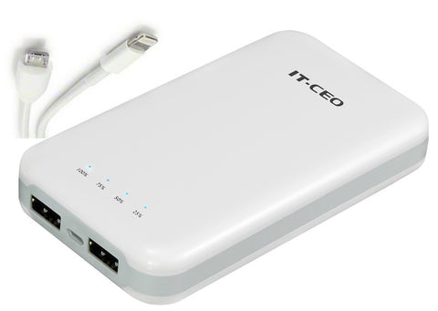 U6710 10.000 mAh External Battery Pack/ Universal USB charger for smar phones & tablet w/ 2 USB output