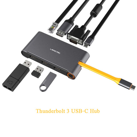Thunderbolt 3/ USB C to HDMI / VGA 4K HD Video Adapter, Gigabit Network Adapter, 3x USB 3.0 Hub, USB Type C Fast Charger Adapter, and USB C Cable 5-in-1