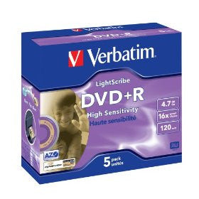 Verbatim 16x DVD+R Media LightScribe 5pk