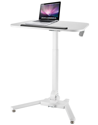 Allcam WST01 Folding Height Adjustable Reception Desk w/ Tilt Table top Workstation Trolley White