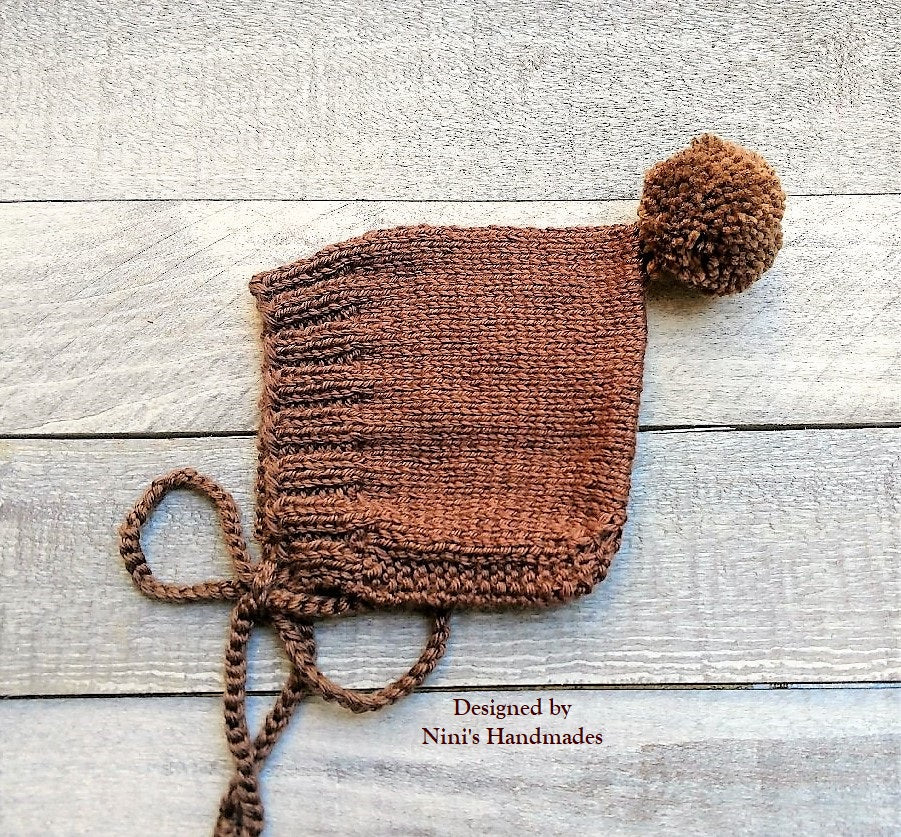 Knit Brown Pixie Bonnet Pom Pom Hat For Fall And Winter Chunky