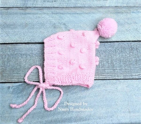96c5689fd0c ... Knit Pink Bobble Pixie Bonnet Pom Pom Hat For Fall and Winter ...