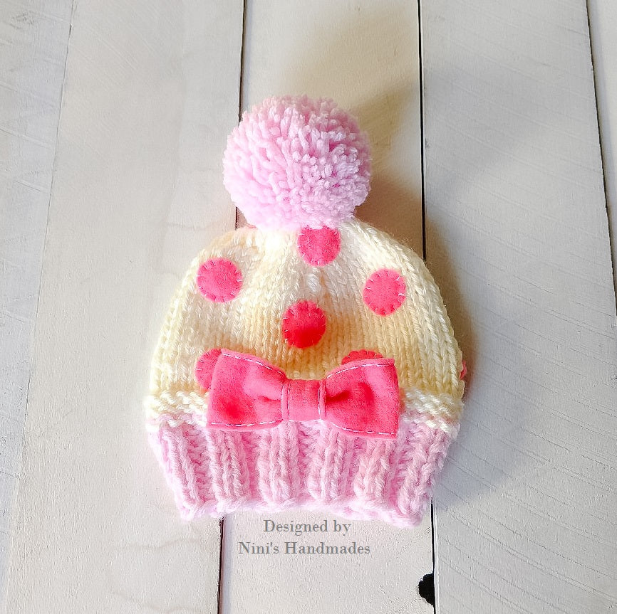 Chunky Knit Hot Pink And Creme Dreamy Cupcake Hat Ninis Handmades